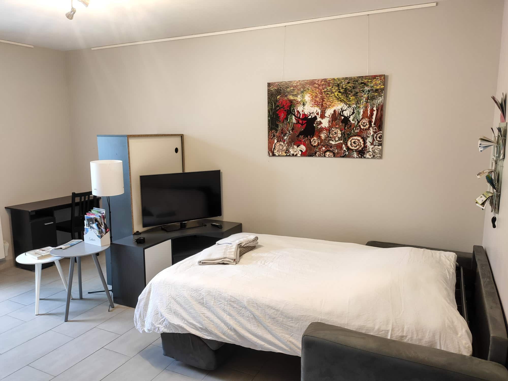 Salon avec canapé converti en lit d'appoint