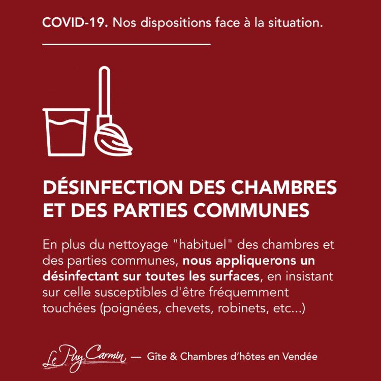 COVID-19 - Désinfection des chambres et des parties communes